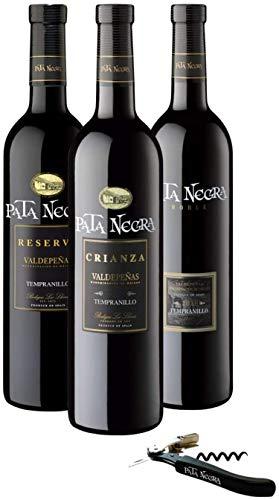 Pata Negra - Lote de 3 Botellas con D.O Valdepeñas y Sacacorchos de Regalo, Pack de 3 botellas x 75 cl