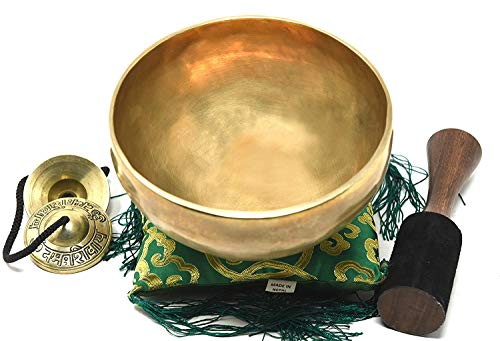 "7"" Tibetan Singing Bowl ~ Superb B Crown Chakra Bowl for Meditation, Yoga, Healing, Mindfulness, Relaxation & Sound Therapy ~ Handmade Bowl with Wooden Mallet, Silk Cushion & Tingsha Cymbals included"