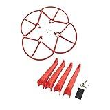 4 piezas de cubierta protectora de hoja de hélice y tren de aterrizaje para Hubsan H501S H501A H501C H501M H501S W H501S Pro Kits de aviones no tripulados RC de cuatro ejes - Rojo, como se describe