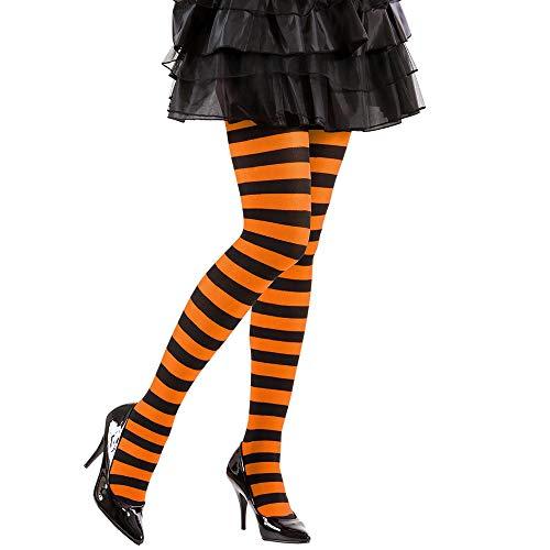 Widmann 01267 panty gestreept, 70 DEN, dames, oranje/zwart, eenheidsmaat