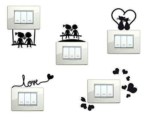 StickerDesign Adesivi per Interruttore 5 Pezzi Spine placche Bambini sulla PANCHINA Altalena Love Cuoricini Gattini E CUORICINO Wall Stickers Decorazione Cameretta Interni Casa Adesivo Murale