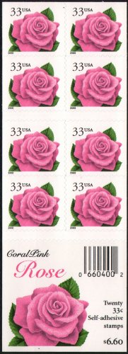 CORAL PINK ROSE #3052EF Convertible Booklet of 20 x 33¢ US Postage Stamps