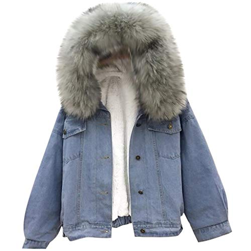 SUMTTER Jeansjacke Damen mit Fell Sweatjacke Damen mit Kapuze Oversize Winterjacke Damen Kurz Warm Gefüttert (Dunkelgrau, L)