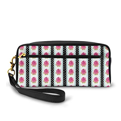 Pencil Case Pen Bag Pouch Stationary,Vertical Old Fashioned Borders with Pink Roses on Polka Dots Background Country Style,Small Makeup Bag Coin Purse