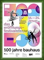 ポスター バウハウス 100 Jahre Bauhaus Festival 2019 white 額装品 ウッドベーシックフレーム(グリーン)