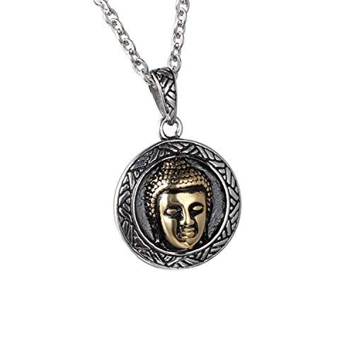 JewelryWe Schmuck Edelstahl Buddha Hauptportrait Amulett Unisex Anhänger mit 55cm Kette, Halskette für Damen und Herren, Schwarz Silber