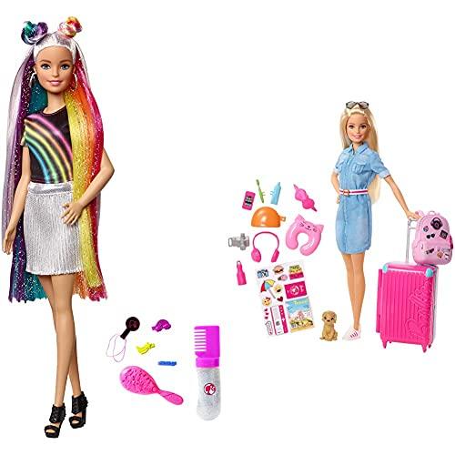 Barbie Bambola Con Capelli Lunghi Arcobaleno E Tanti Accessori, Giocattolo Per Bambini 3+ & In Viaggio Bambola Bionda Con Cucciolo, Valigia Che Si Apre, Adesivi, Accessori, Giocattolo Per Bambini 3+