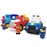 Boley 3 Pack Emergency City Cars And Train Set - Educational Lights And Sounds Toy Vehicle Playset For Boys And Girls - Includes Fire Truck, Train, And Police Interceptor - Perfect For Kids, Children,
