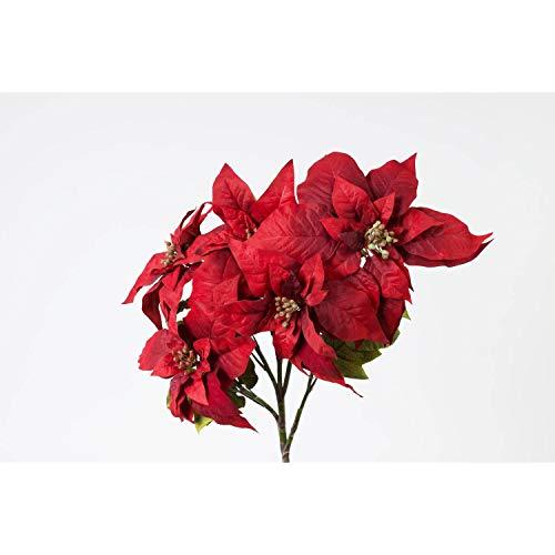 Rama de flor de pascua (Poinsetia) artificial con 5 flores, rojo, 58 cm - Rama decorativa / Ramificación sintética - artplants
