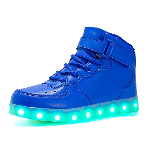 Voovix Bambini LED Lampeggiante Scarpe con Telecomando per Ragazzi e Ragazze (Blu, EU35/CN35)