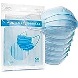 50x Mund-Nasen-Maske, 3lagig, blau, deutschsprachige Verpackung von LIVAIA, 3-lagige Gesichtsmaske, 50 Stück