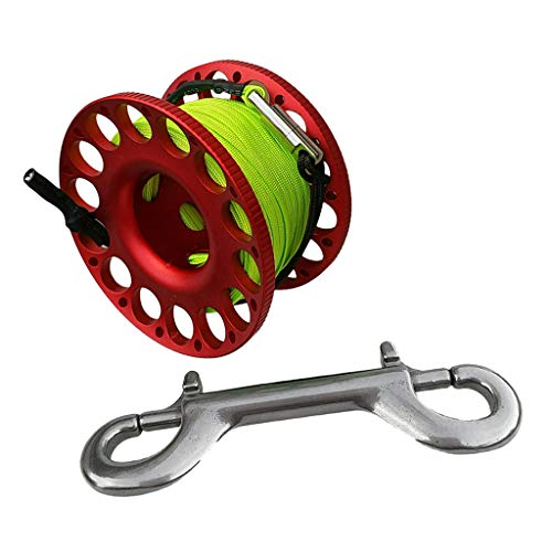 Purple 30m Scuba Diving Dive Compact Finger Spool Reel W//Ended Snap Bolt-Green Line