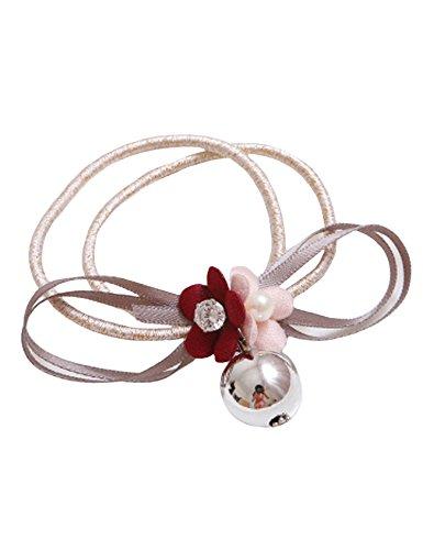 Bestgift Frauen Haargummis Haarklammer Weiseperlen Haar Seil Blumen Elastisch Gummiband Rosa+Wein Rot
