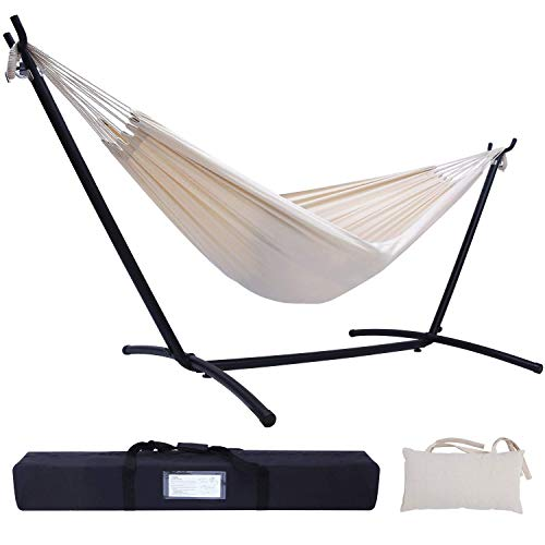 Hammock with Stand, Ohuhu Double Hammock with Space Saving Steel Stand & Pillow, 2-Person Hammock with Portable Carrying Bag for Outdoor Garden Yard Porch Patio & Indoor Space, 450 lb Capacity, Beige