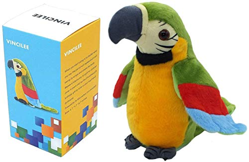 VINCILEE Talking Parrot Repeat What You Say Mimicry Pet Toy Plush Buddy Parrot for Children Gift,4.3 x 8.7inches( Green)