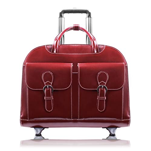 """McKlein, L Series, Davis, Top Grain Cowhide Leather with Faux Leather Trim, 15"""" Leather Wheeled Ladies' Laptop Briefcase, Red (96186A)"""