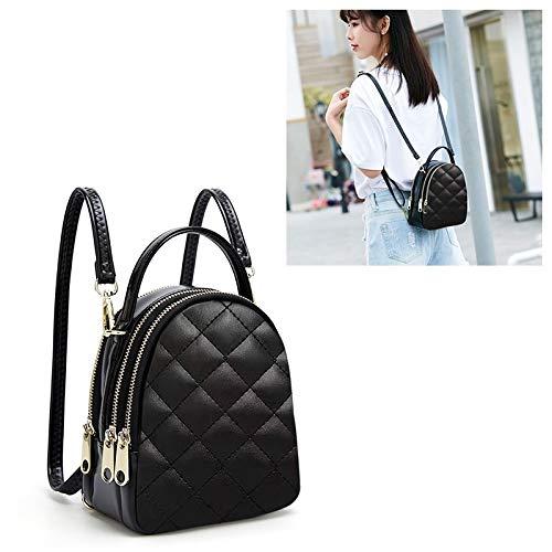 HMG rombo Textura Cuero de la PU del Hombro del Doble del Bolso de Escuela Viaje Backpackage, Tamaño: L (Negro) (Color : Black)
