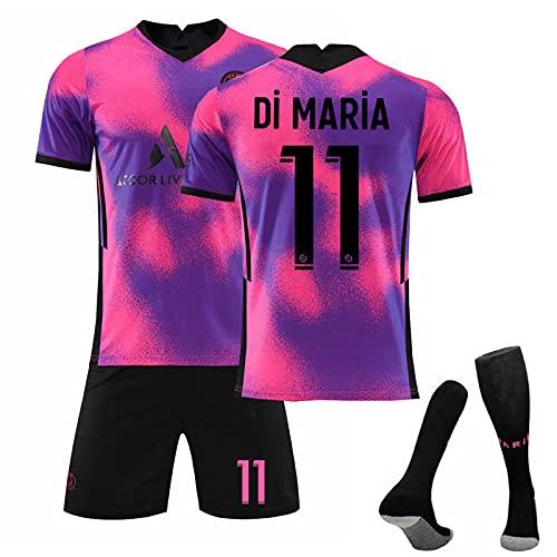 2021 Voetbalshirt # 7 Di Maria Away Game Voetbalshirt Set Korte Mouwen Shorts Pak Wk Voetbal voor Kinderen Jeugd Voetbalshirt Verjaardagscadeau 18 11