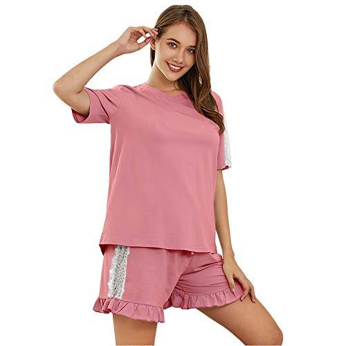 SHEKINI Pijama de Dos Piezas para Mujer algodón Corto con Cuello en V Pijamas cómodos y cómodos Pijamas Traje de Servicio a Domicilio Pijamas