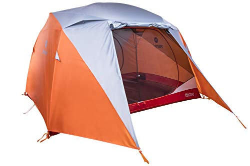 Marmot Leichtes Zelt 4 Personen, 4 Mann Trekking Zelt, Camping Zelt, Absolut Wasserdicht Limestone 4P, Orange Spice/Arona, 4 Personen, 29100