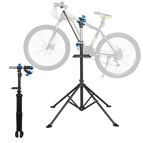 Sunjuly - Soporte de trabajo para bicicleta plegable con rotación de 360 grados para todos los modelos de bicicleta, pinzas de bloqueo rápido, soporte magnético para herramientas, máximo 50 kg