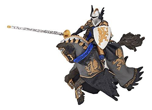 Papo 36001 FANTASYWELT Zwarte drakenprins en paard, meerdere kleuren