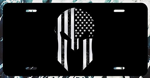 Decals Home Decor & More Spartan Helmet American Flag Grunge Vanity License Plate | Etched Aluminum | 6-Inches by 12-Inches | Car Truck RV Trailer Wall Shop Man Cave | VLP199
