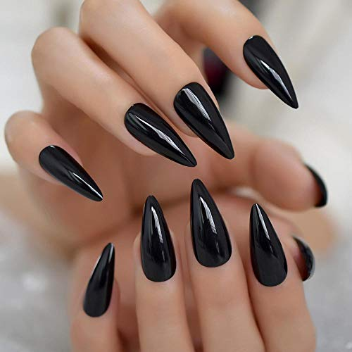 CSCH Faux ongles Black Long Point Stiletto False Nail Tips Acrylic Salon Full Cover Nails Artificial Fake Nails Press On Nails With Glue Sticker