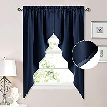 NICETOWN Blackout Kitchen Window Curtains - Thick Tailored Scalloped Valance/Swags Window Decorations Curtains for Living Room/Bay Window  Navy 1 Pair W36 x L63 Per Panel