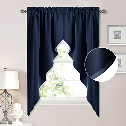 NICETOWN Blackout Kitchen Window Curtains - Thick Tailored Scalloped Valance/Swags Window Decorations Curtains for Living Room/Bay Window (Navy, 1 Pair, W36 x L63 Per Panel)