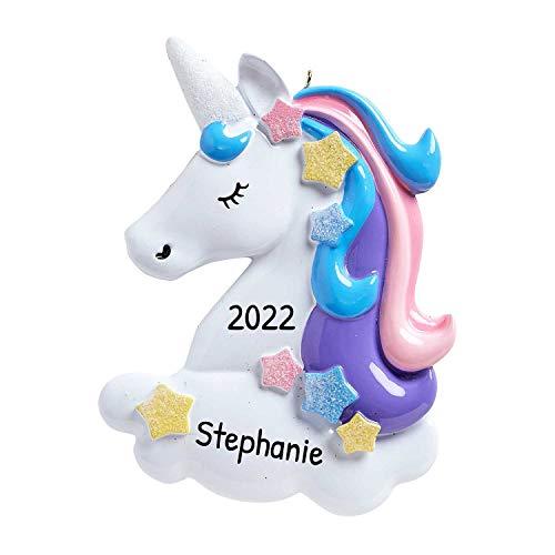 4. Personalized Unicorn Christmas Tree Ornament