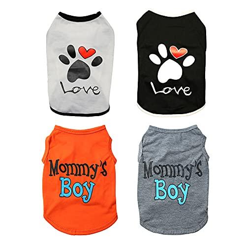 sensiya 4 Pcs Dog Clothes for Small Dogs Boy Girl Summer Dog Hawaiian Shirt Dog T-Shirt Puppy Shirts Vest Pet Cat Outfit for Thunder French Bulldog Dachshund Chihuahua Shitzu (X-Small)