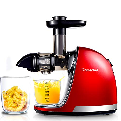 Juicer Machines, AMZCHEF Professional Cold Press Juicer Extractor Machine,Quiet Motor, Slow Masticating Juicer with Brush, Reverse Function, For fruit & Vegetable Juice