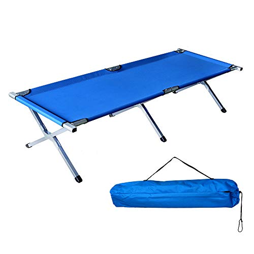 Homevibes Folding Lightweight Bed & Portable Camping Cot with Carry Bag for Adults Hiking Hunting Traveling, Camping Bed,Blue