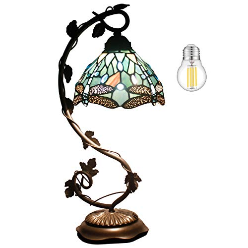 Tiffany Lamp Stained Glass Table Desk Reading Light Crystal Bead Sea Blue Dragonfly Style Shade W8H20.5 Inch S147 WERFACTORY LAMPS Lover LivingRoom Bedroom Study Bookcase Dresser Coffee Bar Craft Gift