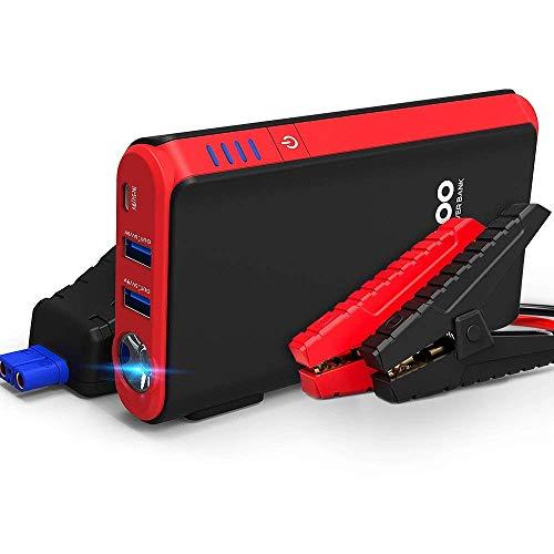GOOLOO Auto Starthilfe Powerbank, 10000mAh/600A Spitzstrom, 12V Tragbare Autobatterie Anlasser Starthilfegerät mit LED Taschenlampe, 4,5L Benzin / 3,0 Diesel (Rot)