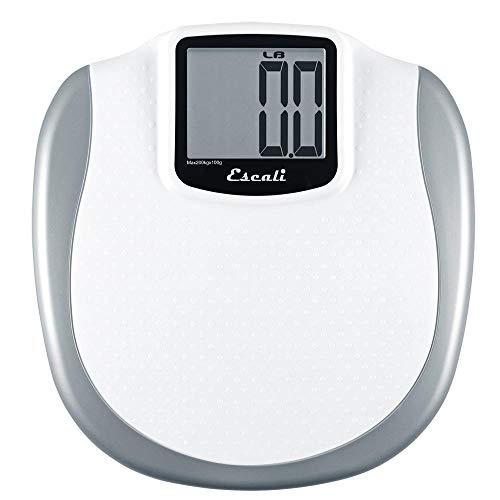 Escali XL200 Extra Large Bathroom Body Scale, Non-Slip Surface, LCD Digital Display, 440lb Capacity, White/Grey