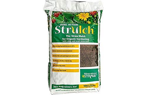 Strulch Organic Straw Mulch Slug Snail Deterrent Large Bag 100 litres