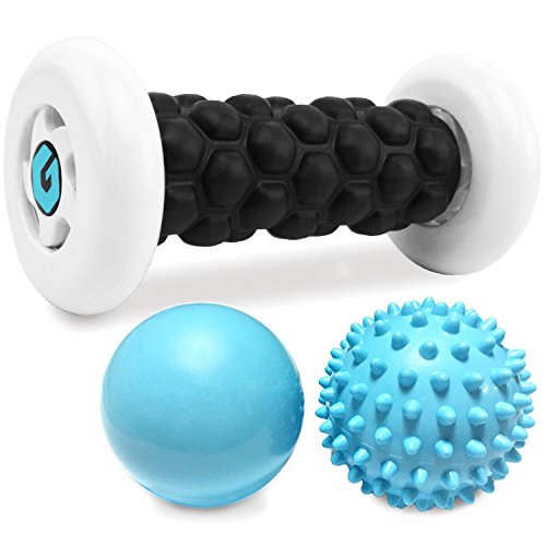 Plantar Fasciitis Foot Recovery Set - Includes Foot Massager Roller and 2 Cold Therapy Massage Balls - Pain Relief via Reflexology, Acupressure, Trigger Point Therapy, Mobility, Myofascial Release