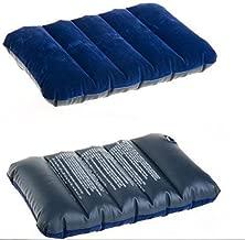 Allium Blue Velvet Air Inflatable Neck Pillow for Travel for Sleeping