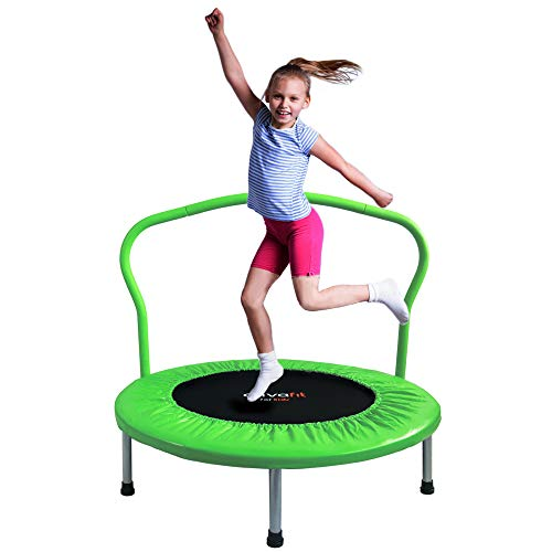 ATIVAFIT 36-Inch Folding Trampoline Mini Rebounder ,Suitable for Indoor and Outdoor use, for Two Kids with safty Padded Cover Green