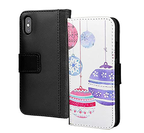 Linda vela campanas Navidad colgados diseño pu cuero cartera en tarjeta teléfono caso cubierta para iPhone 12 mini