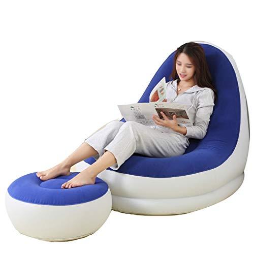 ZLL-Luftmatratze Einzelner Aufblasbarer Freizeit-Stuhl-Luft-Bett-Latex-aufblasbare Liege Faule Sofa-Haushalts-Mittagspause-Stuhl + Fuß-Pumpe (Farbe : Blau)