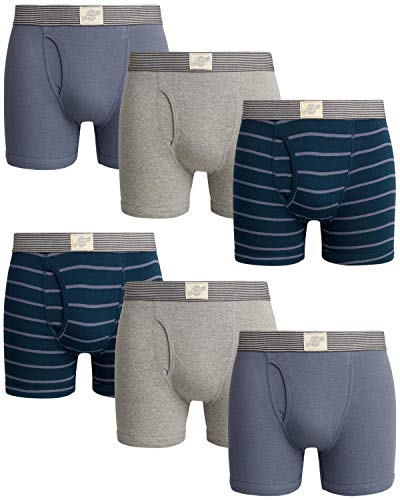Lucky Brand Men's Cotton Boxer Briefs with Functional Fly (6 Pack) (Heather Grey/Navy Stripe/Heather Grey, X-Large)