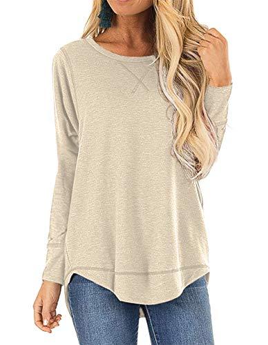 HIYIYEZI Womens O Neck Plain Side Split Loose Casual Baggy Pullover (Medium,Beige)