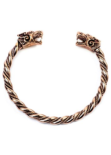 Battle-Merchant Wikinger Armreif Fenris aus Bronze Wölfe Bronzearmband Gothic Armband LARP Wikinger