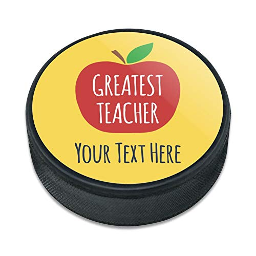 GRAPHICS & MORE Personalized Custom 1 Line Greatest Teacher Apple Ice Hockey Puck