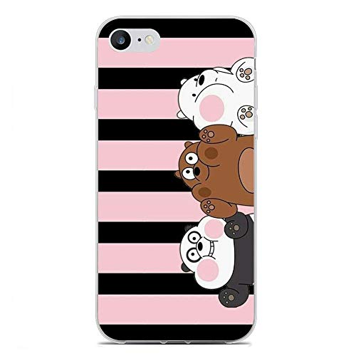 We Bare-Bear Animated 7 Clear Soft TPU Liquid Shell Protective Phone Case Cover for Apple iPhone 8