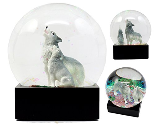 Atlantic Collectibles Howling Wolf Water Globe Alpha Wolf & Cub Family Collectible Figurine 4.5'Tall