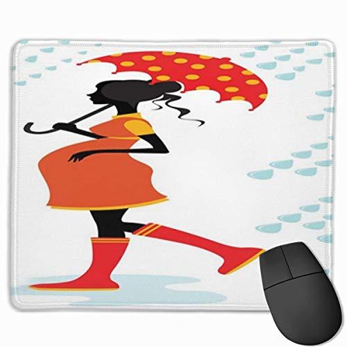 Niedliches Gaming-Mauspad, Schreibtisch-Mousepad, kleine Mauspads für Laptop-Computer, Mausmatten-Regenschirm Schwangere Frau-Silhouette mit warm getöntem Kleid gepunktet Parasolvermilion Orange und H